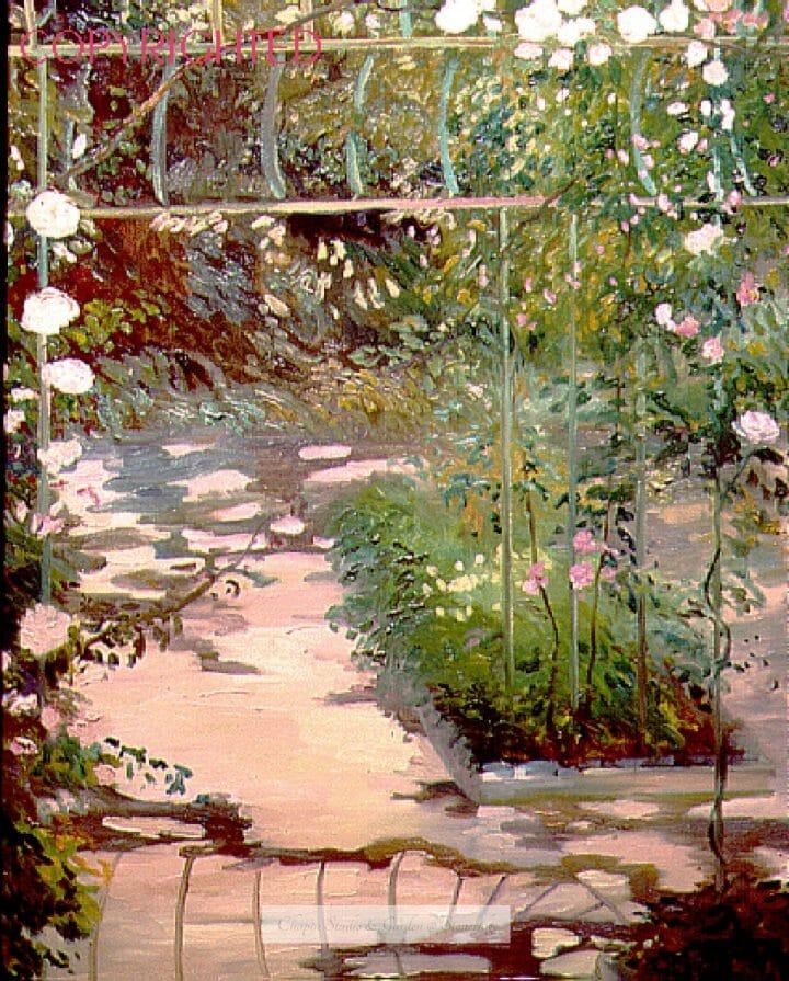 Garden at Baudy, 22x30 plein air oil, Giverny France by Deborah Chapin