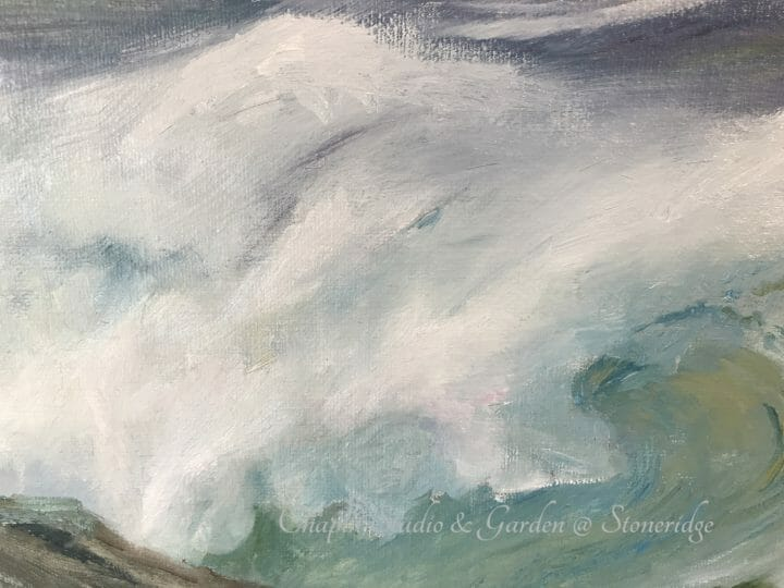 White Horses of the Sea I, oil on linen canvas is part of the #chapinstormpaintings by woman marine artist Deborah Chapin.