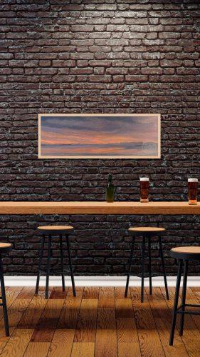 "Mid-coast Maine Coastal Painting , Muscongus Bay at Dawn. An original oil painting on linen canvas mounted on board, 12""x31"" by Deborah Chapin, Maine art, New Harbor Maine, Muscongus Bay Art, Seascape , marine art, marine artist"