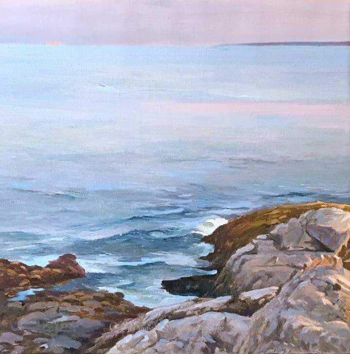 Pemaquid Point at Low Tide, 15x15 oil on linen, by Deborah Chapin, Maine art, Pemaquid Point Rocks, Seascape Painting, marine art, marine artist