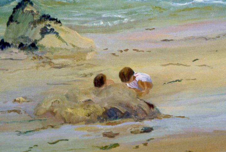 Beach Sand Painting, Sand Castles 21x34 plein air oil by Deborah Chapin