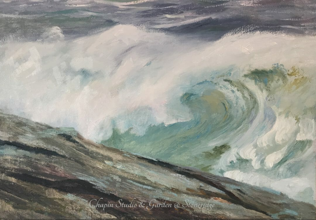 White Horses of the Sea I, oil on linen canvas is part of the #chapinstormpaintings by woman marine artist Deborah Chapin. This depicts the white horses written about by Byron and other poets. An English lore