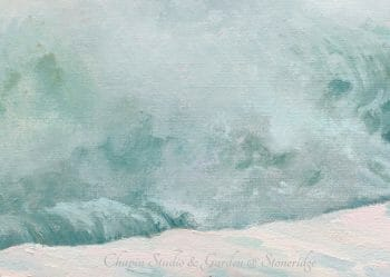 """One of the premier American Women Artists of the 1980's-present, Deborah Chapin, is starting as a mature woman marine artist with a new series depicting White Horses of the Sea. """"White Horses of the Sea 2"""" at Pemaquid Point Lighthouse, is original art, a Maine art piece inspired by the poem """"White Horses of the Sea"""""""