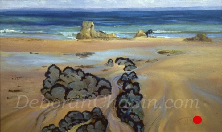 This Beach Painting, Beach Scene, Spring Swim is a plein air oil painted on location by artist Deborah Chapin in Brittany France.