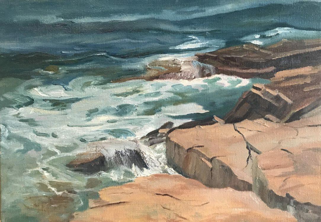 Mid Coast Maine - Coastal Art Vert and Rose Acadia Surf by Deborah Chapin