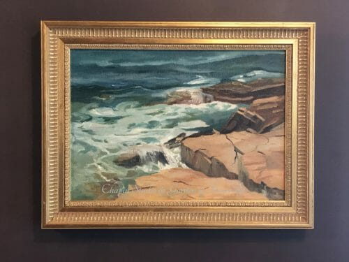 Mid Coast Maine - Coastal Art Vert and Rose Acadia Surf by Deborah Chapin