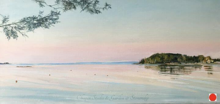 Summertime, Pemaquid Harbor Art, Midcoast Maine, by Deborah Chapin. Pemaquid Harbor Art by Bristol Maine Marine Artist Deborah Chapin closeup