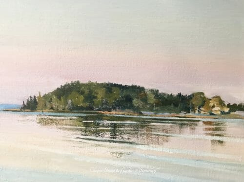 Summertime, Pemaquid Harbor Art, Midcoast Maine, by Deborah Chapin. Pemaquid Harbor Art by Bristol Maine Marine Artist Deborah Chapin closeup