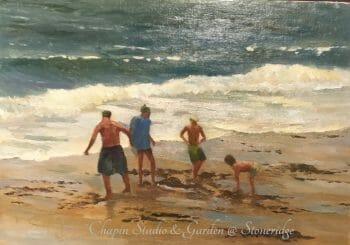Seascape Paintings - Beach Buddies on Sand Beach by Deborah Chapin Artist from Acadia Maine. Plein air painting. Woman Marine Artist