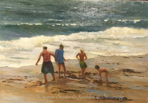 Seascape Paintings - Beach Buddies on Sand Beach by Deborah Chapin Artist from Acadia Maine. Plein air painting. Woman Marine Artist