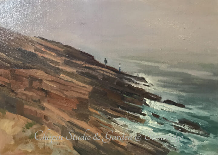 Maine Marine Art a plein air painting entitled Coastal Fog by Deborah Chapin.  Maine art, Acadia Maine, Seascape , marine art, marine artist Maine Marine Art by Deborah Chapin part of the Maine Coastal Art series she is doing of mid coast Maine.   This plein air oil painting is original art, a Maine Marine Art piece.