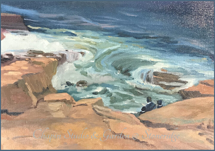 Seascape Artists - a plein air painting entitled Watching the Tide by Deborah Chapin.  Maine art, Acadia Maine, Seascape , marine art, marine artist Seascape Artists - Watching the Tide by Deborah Chapin one of the top Seascape Artists of the 20-21st century, painted on location at Acadia Maine. Plein air painting by Deborah Chapin. Woman Marine Artist