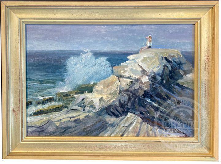 Surf Watcher, plein air oil painting by Deborah Chapin, Pemaquid Point Maine, Midcoast Maine Art, Wave Art, Marine Art