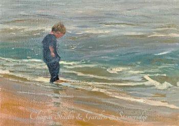 Seascape Painting - Wet Tootsies, Deborah Chapin Artist from Acadia Maine. Plein air painting. Woman Marine Artist