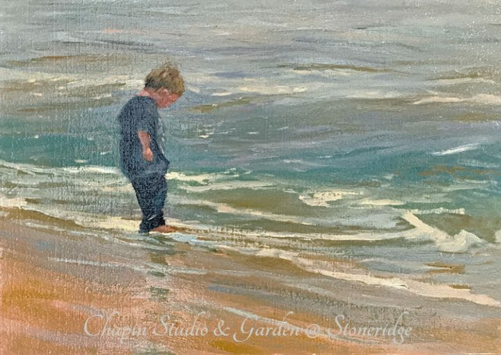 Seascape Painting - Wet Tootsies, Deborah Chapin Artist from Acadia Maine. Plein air painting. Woman Marine Artist