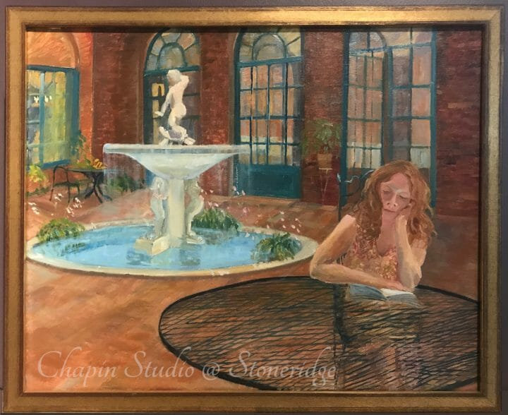 Woman Artist Deborah Chapin, oil painting Girl Reading in a Courtyard. Plein air Painting of a Girl Reading in a Courtyard at Three Arts Club Chicago.