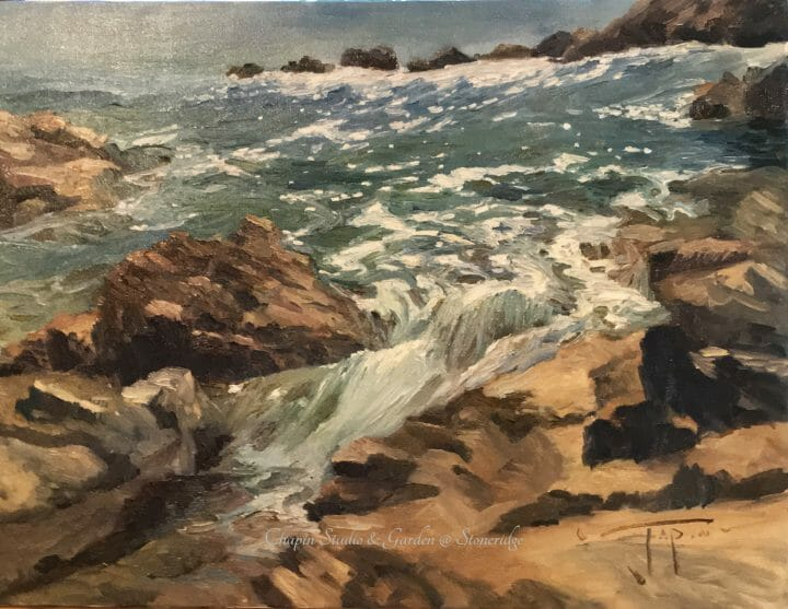 Marine Artist - Coastal Au Soleil by Deborah Chapin. Painted plein air (on location) the sunlit wash of tide and rocks by Deborah Chapin