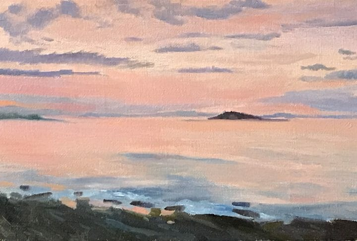 New Harbor Dawn, 8x12 oil on linen $550