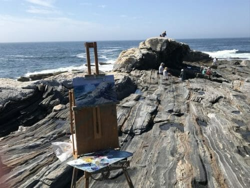 Progress Shot 2 Pemaquid Point Surf Watcher by Marine Artist Deborah Chapin
