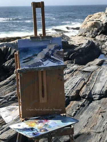 Progress Shot 1 Pemaquid Point Surf Watcher by Marine Artist Deborah Chapin