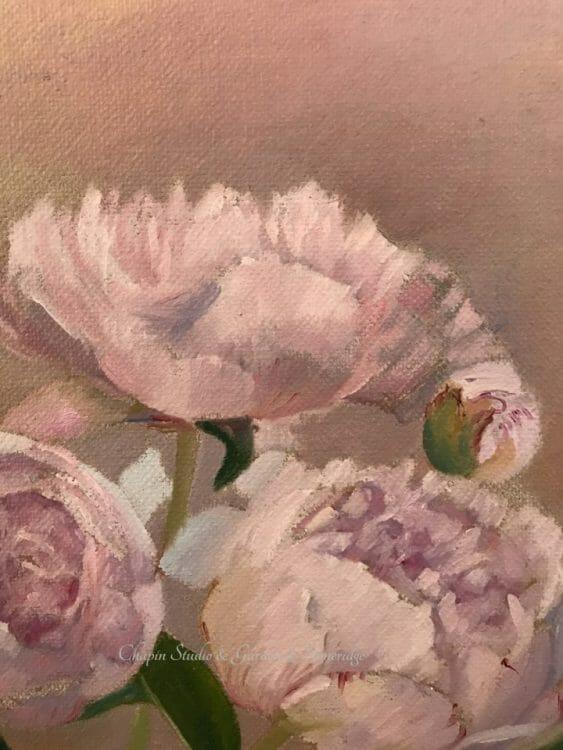 Peonies, pink cream floral painting by Deborah Chapin Closeup 3