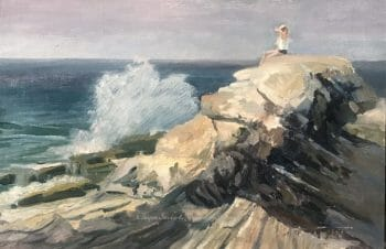 Surf Watcher - Pemaquid Point by Deborah Chapin