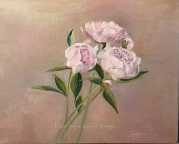 Peonies, pink cream floral painting by Deborah Chapin