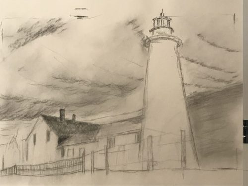Pemaquid Point Lighthouse, Pemaquid Pilot Charcoal by Deborah Chapin draft drawing