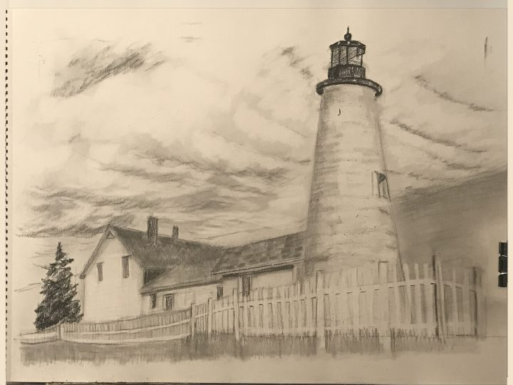 Pemaquid Point Lighthouse, Pemaquid Pilot Charcoal by Deborah Chapin in progress drawing