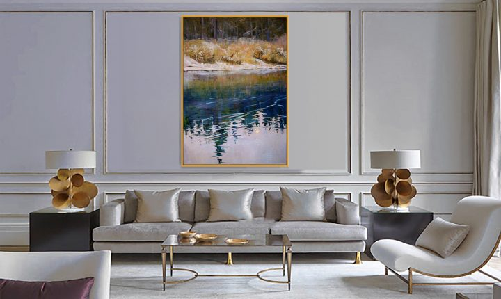Chapin Studio Gallery @ Stoneridge interior decor blue and gold art, Moonlight in the Deep Woods by Deborah Chapin