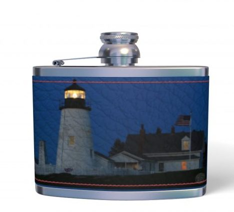 4oz Nappa Leather Hip Flask, Pemaquid Point at Dawn, Bachelor Gifts, Christmas Gifts for Dad, Gifts for Men