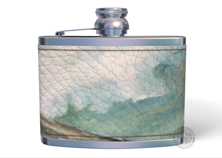 Gifts for Men, NAPPA Leather Hip Flask, Surf off of Pemaquid Point Maine, Bachelor Gifts, Christmas Gifts for Dad
