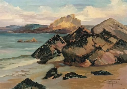 """Coastal Artist - Mussel Rock by Deborah Chapin. Painted plein air (on location) at low tide of the rocks covered with mussels. Seascape , marine art, marine artist Marine Artist, Deborah Chapin Coastal Art with her depiction of Sea Surf and the Coast painted plein air (on location). """"Mussel Rock"""" is original art, a Marine Art piece ________________"""