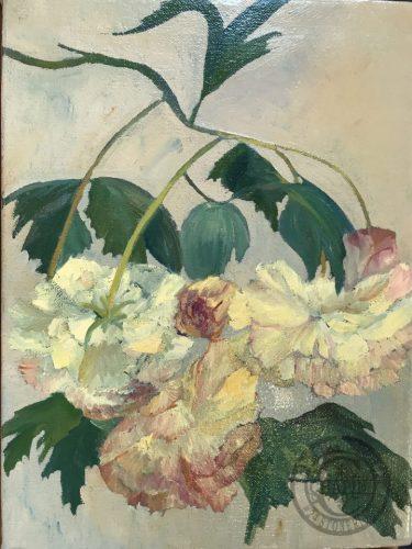 Peonies, pink cream floral oil painting, Baudy Peonies by Deborah Chapin, floral artwork, original floral painting painted en plein air (on location).