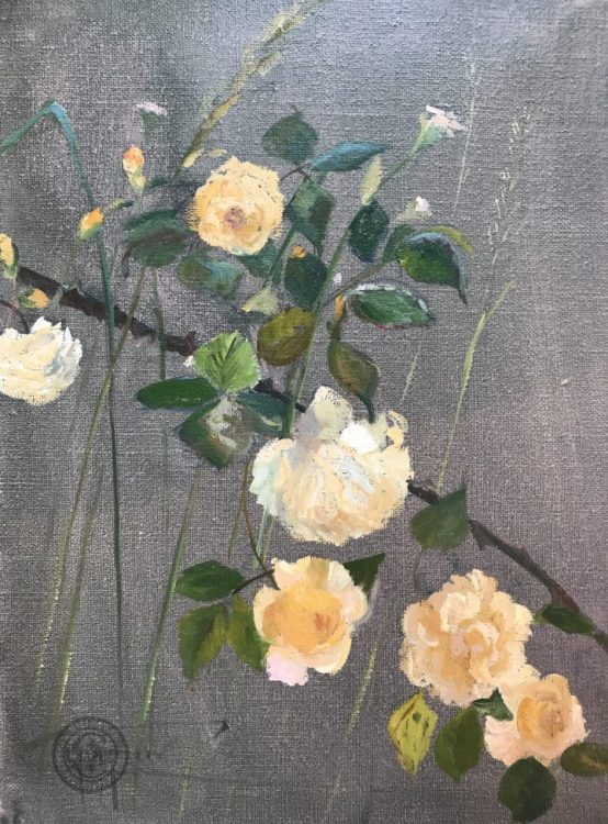 Baudy Garden, Roses, Apricot and Pink floral oil painting, by Deborah Chapin