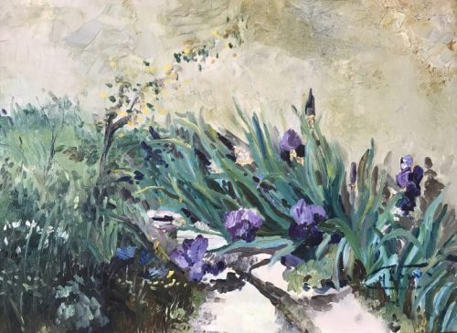 Monique Irises, Purple plein air floral oil painting, original by Deborah Chapin This is a garden of irises in La Roches Guyon, France.