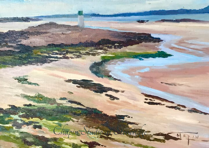 Woman Marine Artist - Coastal Ribbon of Blue by Deborah Chapin. Painted plein air (on location) at low tide by Deborah Chapin