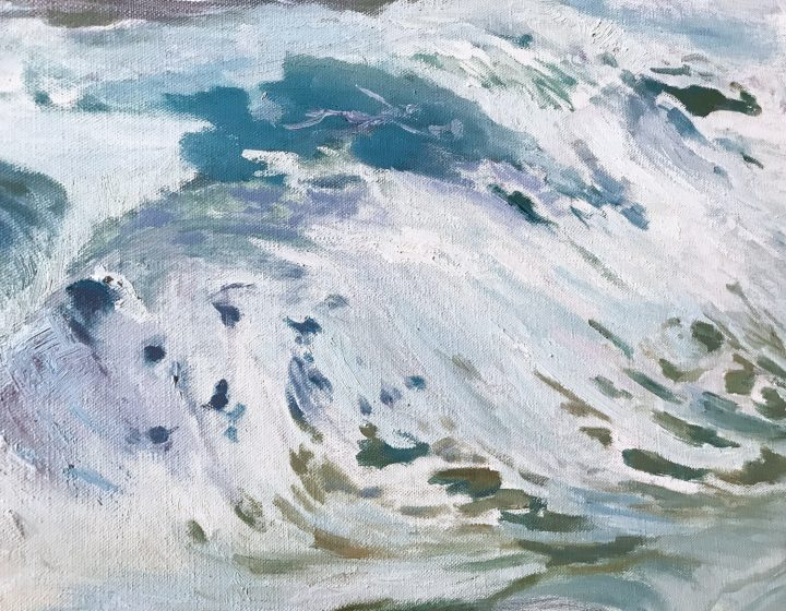 WIP White Horses of the Sea, Deborah Chapin, Pemaquid Point Artists. Directory of Artists on Pemaquid Point Peninsula Maine
