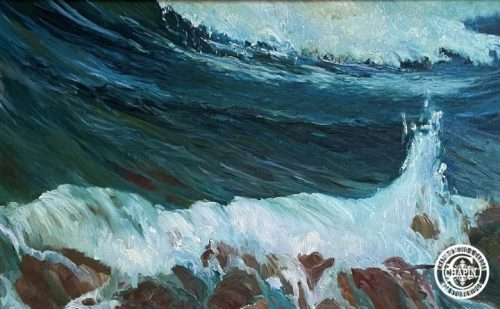 Wave Painting Seascape, Les Roches & Les Vagues original plein air oil painting by Deborah Chapin, shown @ Smithsonian American Art Museum