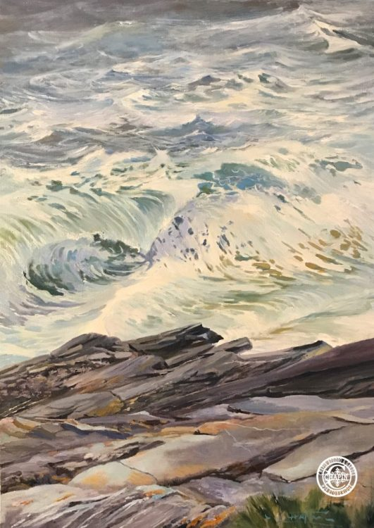 """Surf Painting White Horses of the Sea 5 by Deborah Chapin Painting of Stormy Seas at Pemaquid Point Maine Art. Maine Woman Marine Artist, Deborah Chapin is working on a new series of Maine Coastal Art with her depiction of White Horses of the Sea. """"White Horses of the Sea 5"""" at Pemaquid Point Maine off of Pemaquid Point Lighthouse, is original art, a Maine Marine Art piece inspired by the poem """"White Horses of the Sea"""" by Elfin? although I believe it is an extraction of Byron's . (See Poem below). I'm doing a series of small pieces of those foamy steeds. ________________ White Horses of the Sea 5, 24x36 oil on stretched linen canvas by Woman Marine Artist Deborah Chapin See Other Coastal Pieces Below New Series Offered Exclusively out of the studio with a 30% studio discount."""
