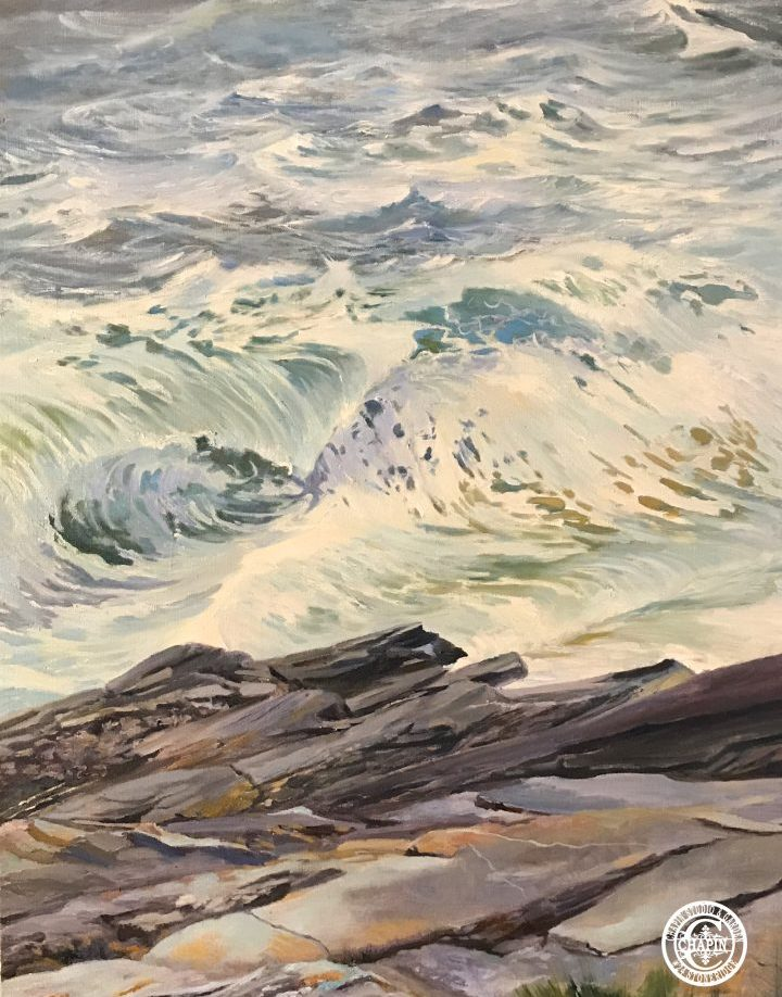 Wave Art Surf Painting White Horses of the Sea 5 by Deborah Chapin Painting of Stormy Seas at Pemaquid Point Maine Art.