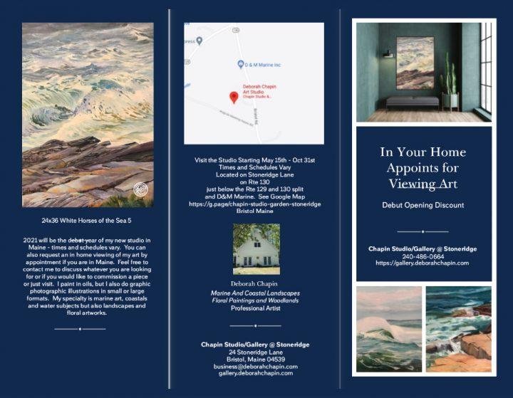 2021 Brochure Pemaquid Point Maine Artist, marine art, Maine Art, Deborah Chapin