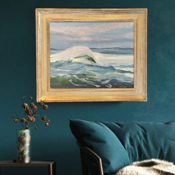 """Interior Design, Home Decor Teal green, Maine Marine Artist - Coastal Series White Horses of the Sea 4 by Deborah Chapin Inspired by the Poem """"White Horses of the Sea"""" Pemaquid Point Maine Art."""