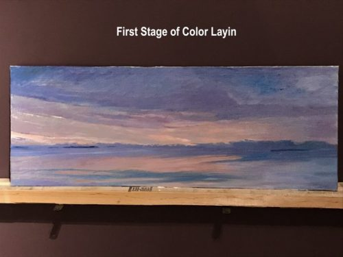 "Original Art, Muscongus Bay a new Dawn, by Deborah Chapin. A new Dawn on Maine's Muscongus Bay. Original Oil Art. 12x31"" Coastal Decor Piece"
