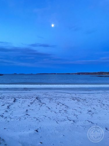Moon Over Pemaquid Beach by Deborah Chapin