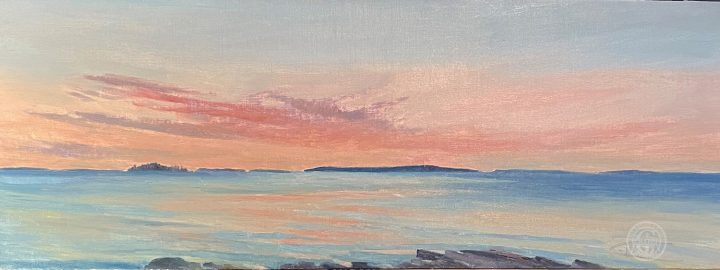 MusconguCoastal Seascape Muscongus at Dawn, 12x32 plein air oil painting by Deborah Chapins at Dawn, 12x32 plein air oil by Deborah Chapin