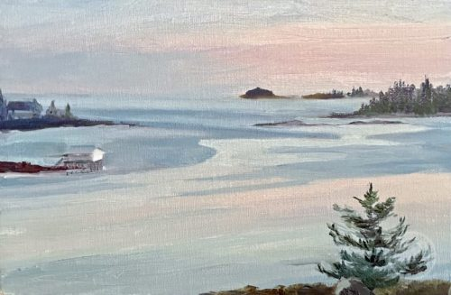 Coastal Art, Pemaquid Harbor, Catspaws at Dusk by Deborah Chapin.  Overlooking Pemaquid Harbor Maine a view of the Catspaws on the water.