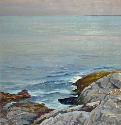 Coastal Painting, Moonrise off of Pemaquid Point by Deborah Chapin