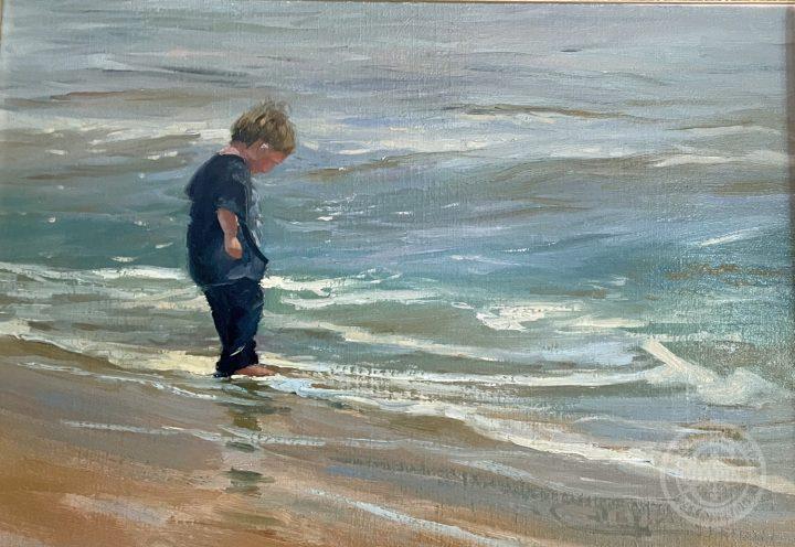 Maine Art - Wet Tootsies on Sand Beach by Deborah Chapin Artist from Acadia Maine. Plein air painting. Woman Marine Artist