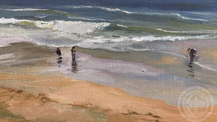 Mid Coast Maine - Coastal Art Sand Beach Explorers Surf by Deborah Chapin
